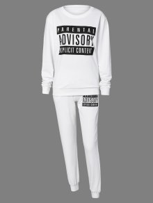 Letter Sweatshirt And Drawstring Sports Pants - White M