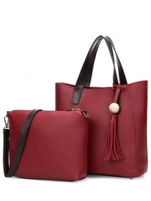 Colour Spliced Stitching Tassels Tote Bag - Wine Red