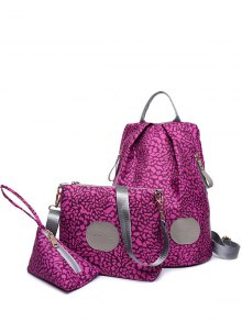 Imprimer Zippers Couleur Spliced ​​Backpack - Violet Rose