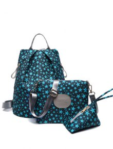 Print Zippers Color Spliced Backpack - Green Blue