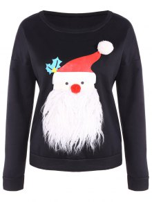 Fleece Christmas Sweatshirt - Black M
