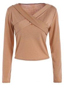 Criss-Cross Cropped T-Shirt - Khaki L