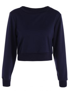 Casual Sports Cropped Sweatshirt - Purplish Blue M
