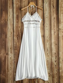 Crochet Insert Halter Dress - White L