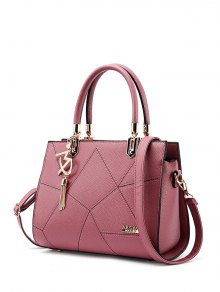 Textured Leather Metal Stitching Tote Bag