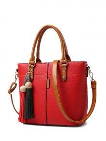 Tassels Colour Spliced Metal Tote Bag - Red