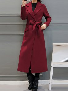 Belted Woolen Blend Maxi Coat - Wine Red S