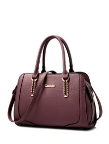 Metallic Stitching Textured Leather Tote Bag - Red Violet