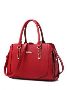 Metallic Stitching Textured Leather Tote Bag - Wine Red