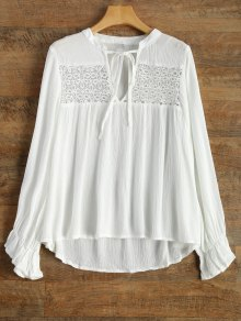 V Neck Chiffon Spliced Blouse - White S