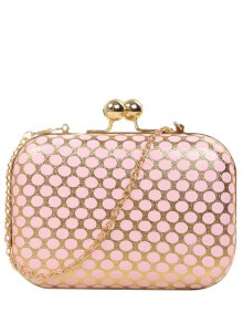 Polka Dot Metal Liss Lock Evening Bag - Pink