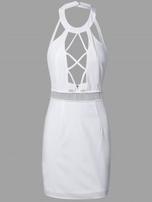 Backless Cut Out Bodycon Dress - White