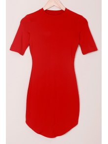 Solid Color Round Collar Short Sleeve Bodycon Dress