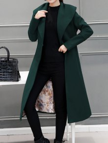 Wool Blend Maxi Long Wrap Shawl Collar Belted Coat - Blackish Green M
