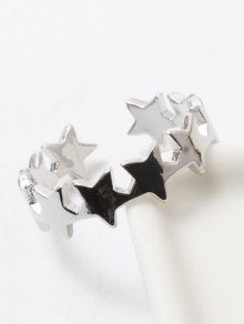 Polished Star Cuff Ring - Silver White