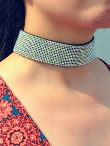 Faux Leather Rhinestone Wide Choker
