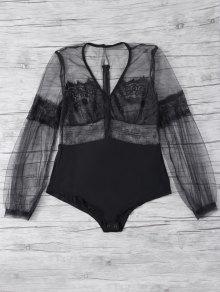 Lantern Sleeve Mesh Lace Bodysuit