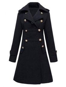 Woolen Double-Breasted Coat - Black Xl