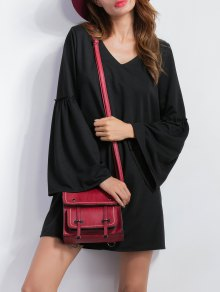 V Neck Bell Sleeve Shift Mini Dress - Black M