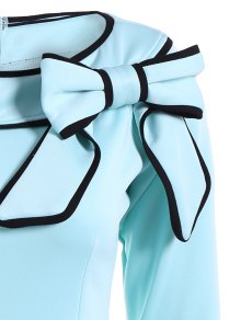 Slash Neck Bowknot Pencil Dress - LIGHT BLUE M