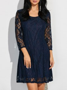 Short Lace Dress With Sleeves - Purplish Blue 2xl
