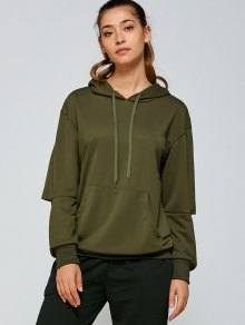 Front Pocket Ripped Hoodie - Army Green S