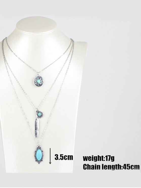 Bohemian Layered Pendant Necklace - SILVER  Mobile