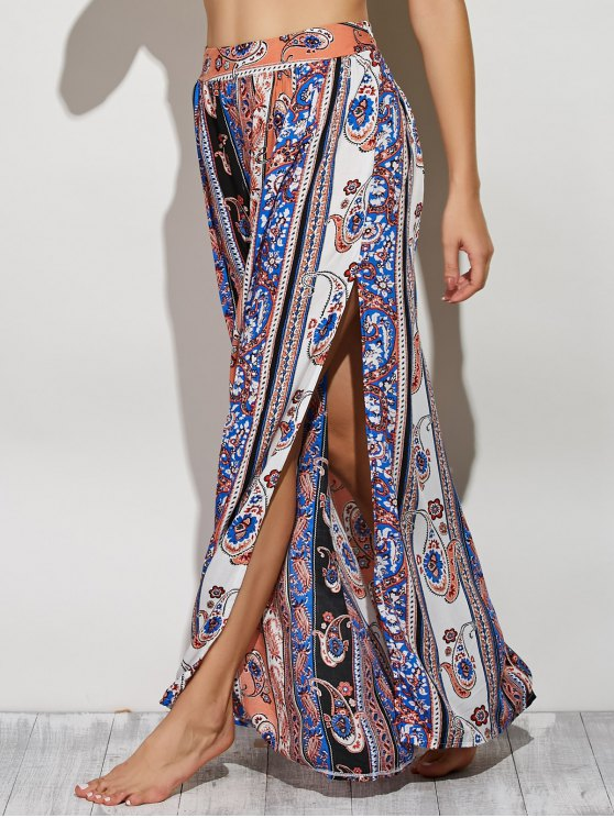 Maxi jupe avec fente sur le côté à style bohemien et paisley - Multicolore S