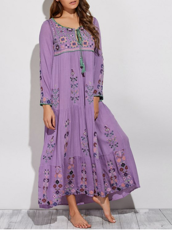 Scoop Neck Embroidered Swing Maxi Dress - PURPLE XL Mobile