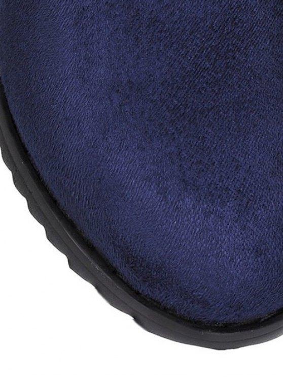 Flat Heel Round Toe Buckles Short Boots - DEEP BLUE 39 Mobile