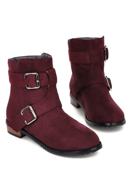 Flat Heel Round Toe Buckles Short Boots - RED VIOLET 39 Mobile