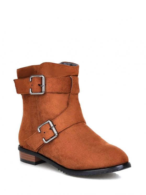 Flat Heel Round Toe Buckles Short Boots - LIGHT BROWN 39 Mobile