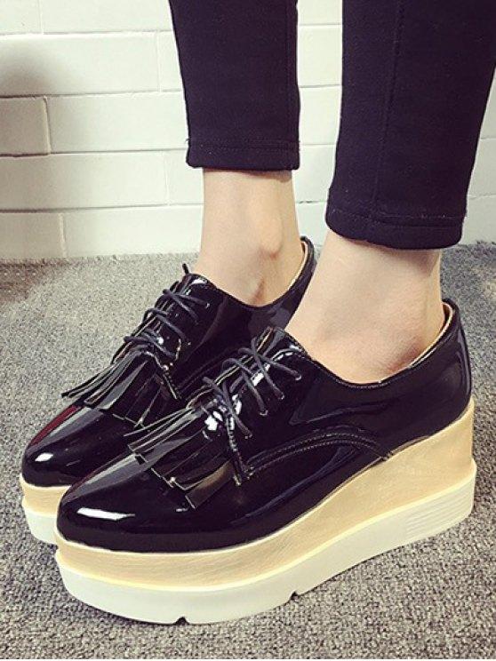 Fringe Platform Tie Up Wedge Shoes - BLACK 37 Mobile