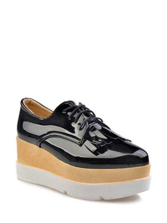Los zapatos de plataforma de la cuña de la franja Implique - Negro 37