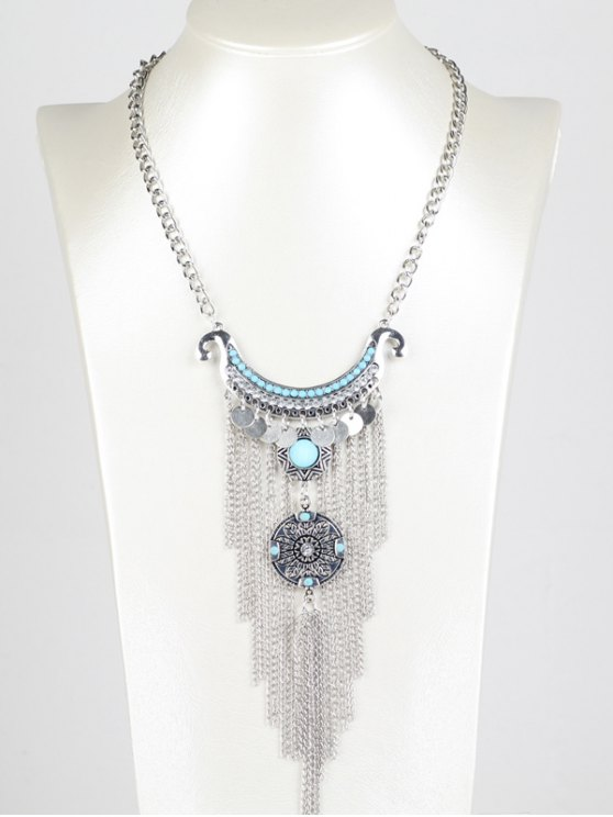 lady Disc Chain Fringe Necklace - SILVER