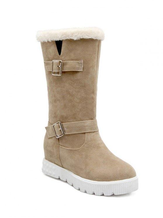 Double Buckles Platform Snow Boots - APRICOT 38 Mobile