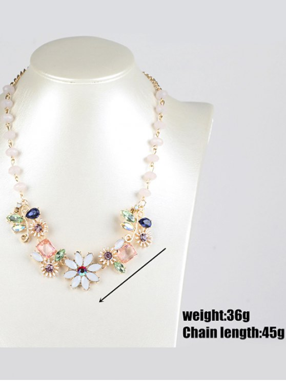 Faux Gem Flower Necklace - GOLDEN  Mobile