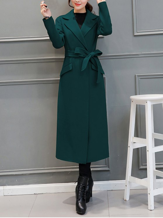 Belted Woolen Blend Maxi Coat - BLACKISH GREEN 2XL Mobile