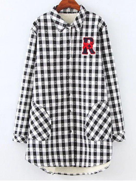 Chemise en laine à carreaux avec poches - Blanc et Noir 2XL
