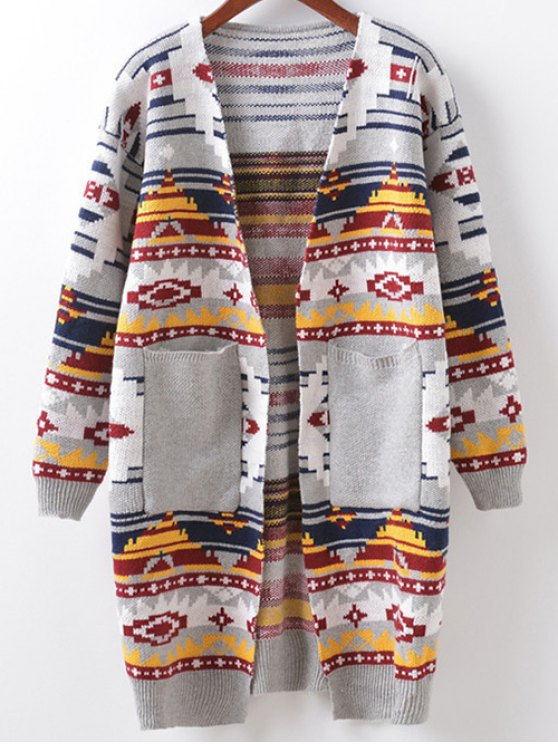 Argyle Cocoon Cardigan - LIGHT GRAY ONE SIZE Mobile