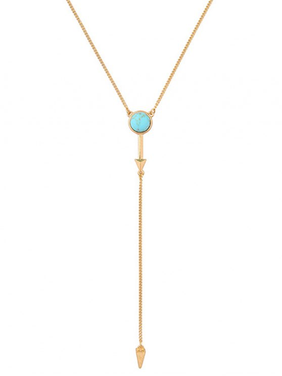 Faux Turquoise Geometric Circle Pendant Necklace - GOLDEN  Mobile