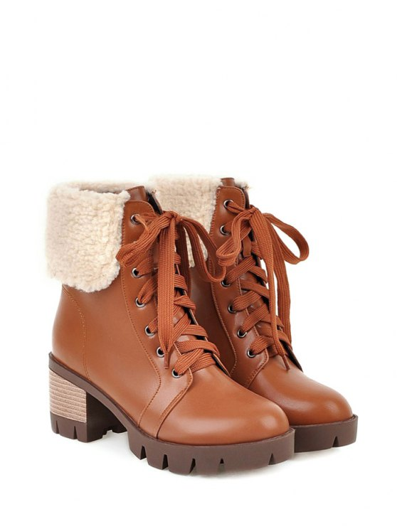 Faux Shearling Lace-Up Chunky Heel Boots - BROWN 38 Mobile
