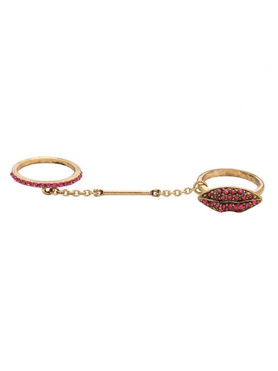 Vintage Rhinestone Lips Shape Ring Set - GOLDEN ONE-SIZE Mobile