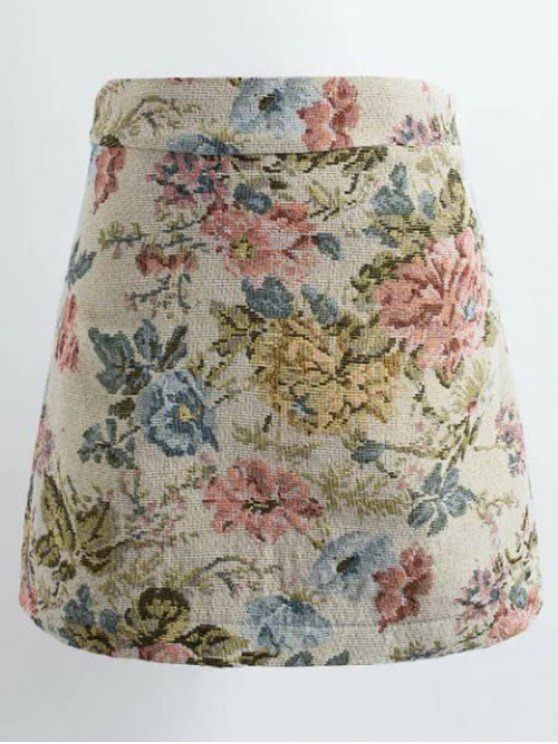 Jacquard floral mini falda - Colormix XL