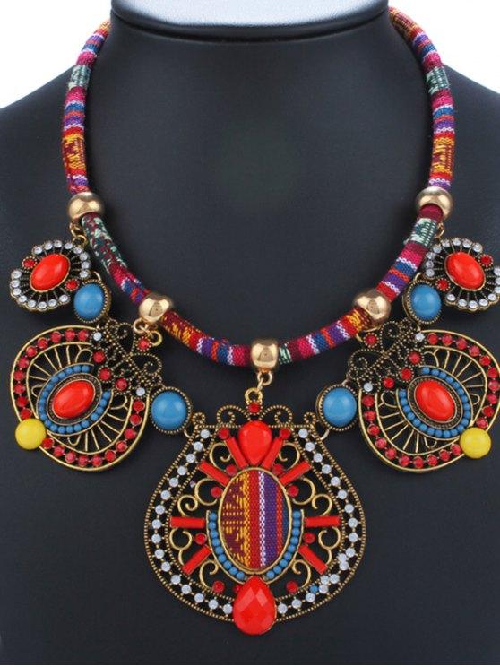 best Rhinestone Enamel Geometric Necklace - RED