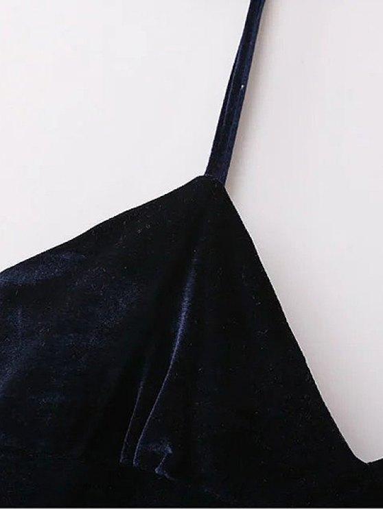 Velvet Cami Slip Dress - PURPLISH BLUE L Mobile
