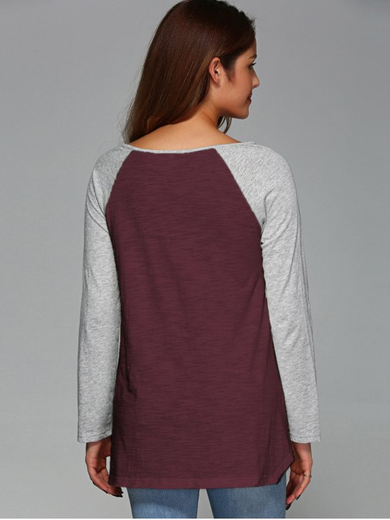 Raglan Sleeve Asymmetrical Tee - WINE RED XL Mobile