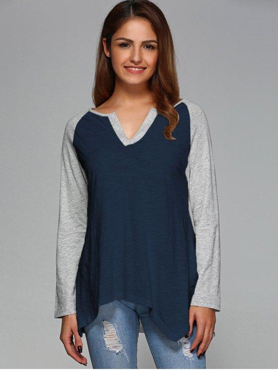 Raglan Sleeve Asymmetrical Tee - PURPLISH BLUE 2XL Mobile
