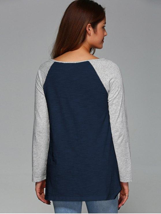 Raglan Sleeve Asymmetrical Tee - PURPLISH BLUE M Mobile