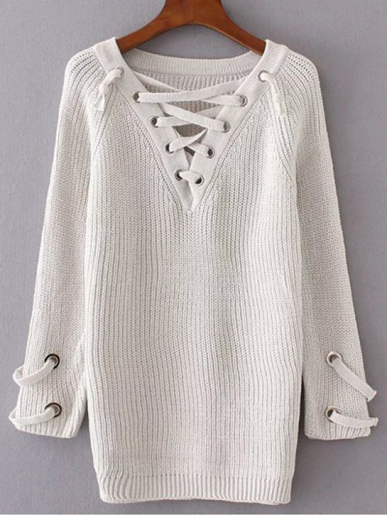 Lace Up V Neck Jumper - CRYSTAL CREAM ONE SIZE Mobile